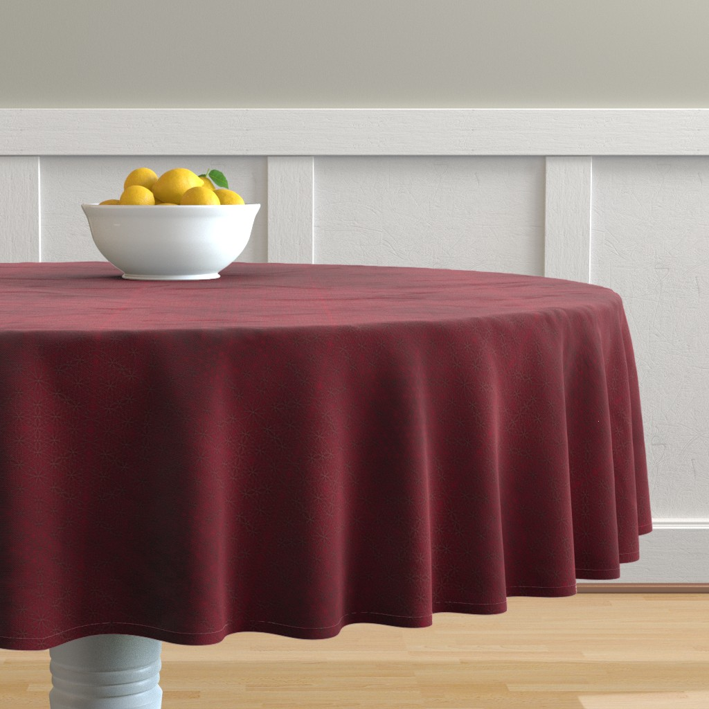 Malay Round Tablecloth featuring Flower of Life Pattern Red by maverickcreatrix