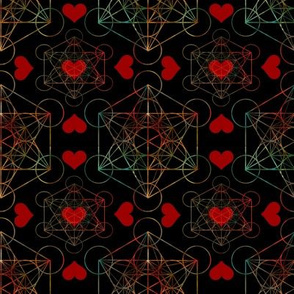 Metatron's Cube Pattern with Hearts