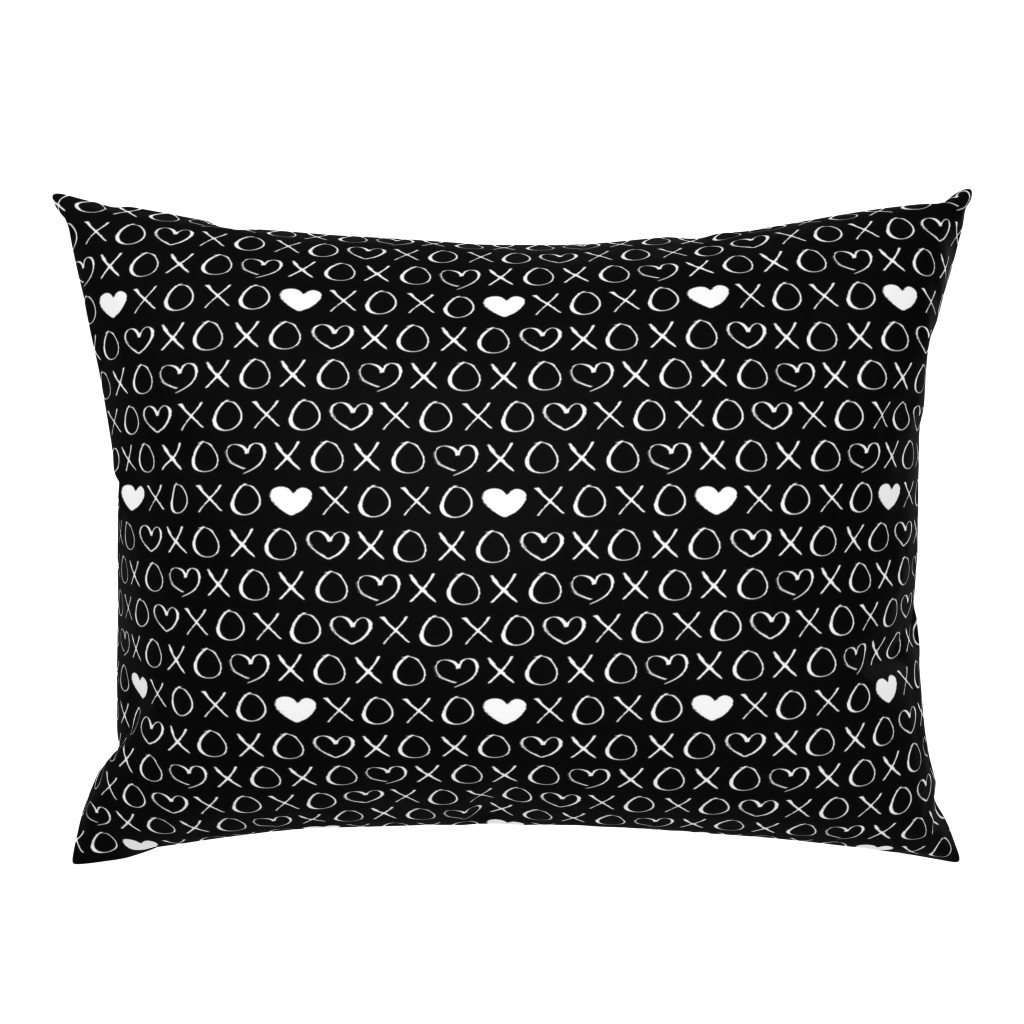 Campine Pillow Sham featuring xoxo love sweet hearts and kisses print for lovers wedding and valentine in black and white by littlesmilemakers