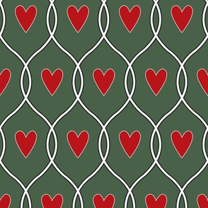 Hearts in lines_red on green