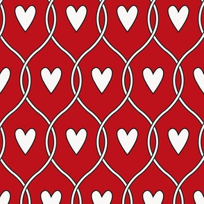 Hearts in lines_white on red