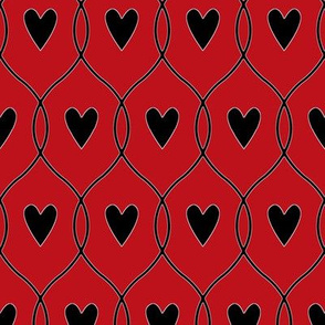 Hearts and lines_black on red
