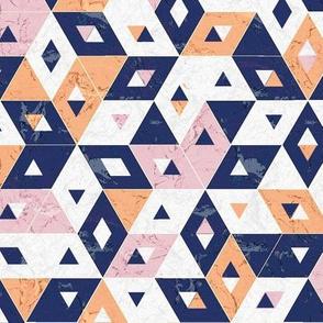 peach navy marble triangles