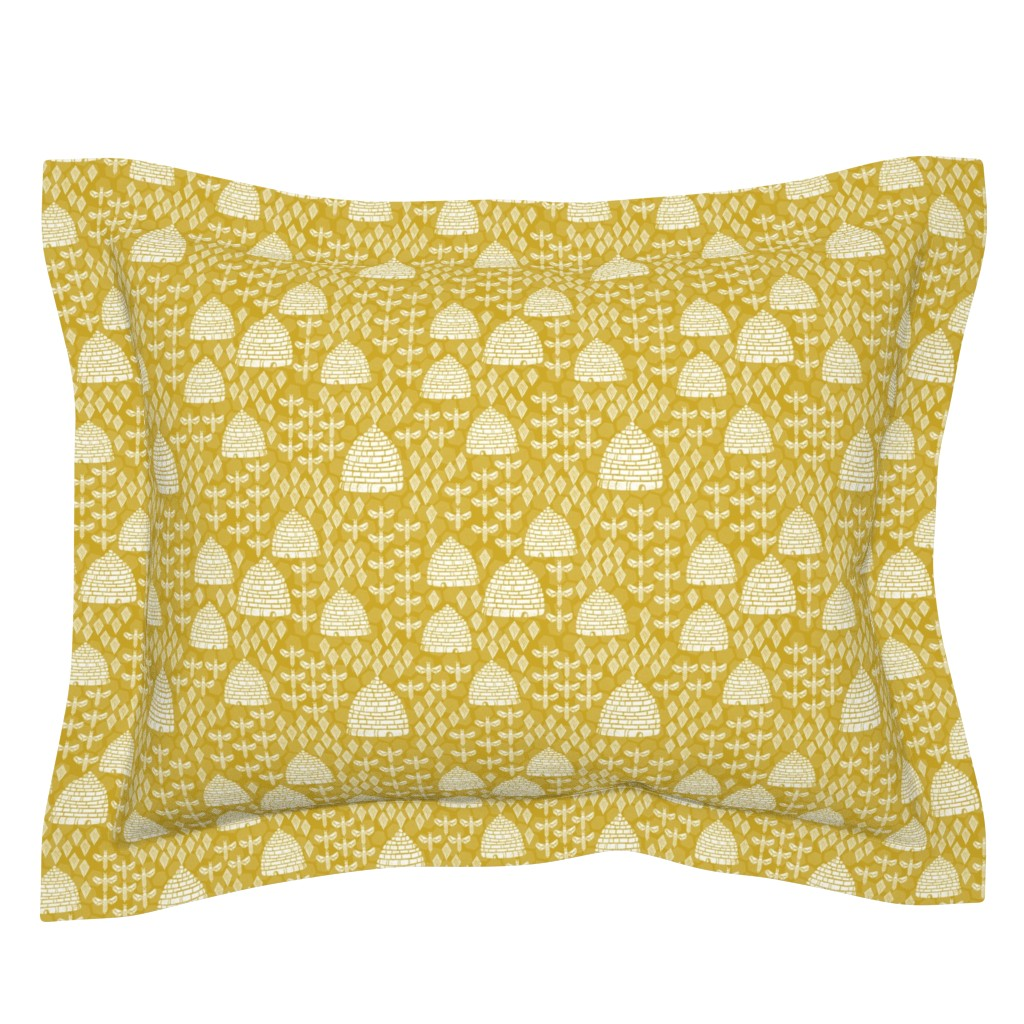 Sebright Pillow Sham featuring bee hives // golden yellow spring florals flower bumble bee linocut block printed textiles by andrea_lauren