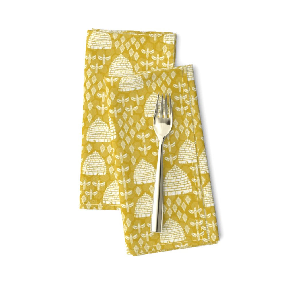 Amarela Dinner Napkins featuring bee hives // golden yellow spring florals flower bumble bee linocut block printed textiles by andrea_lauren