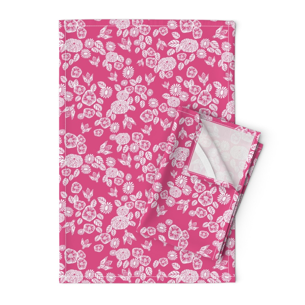 Orpington Tea Towels featuring bee garden // pink block printed bee flowers floral vintage style pink fabric by andrea_lauren