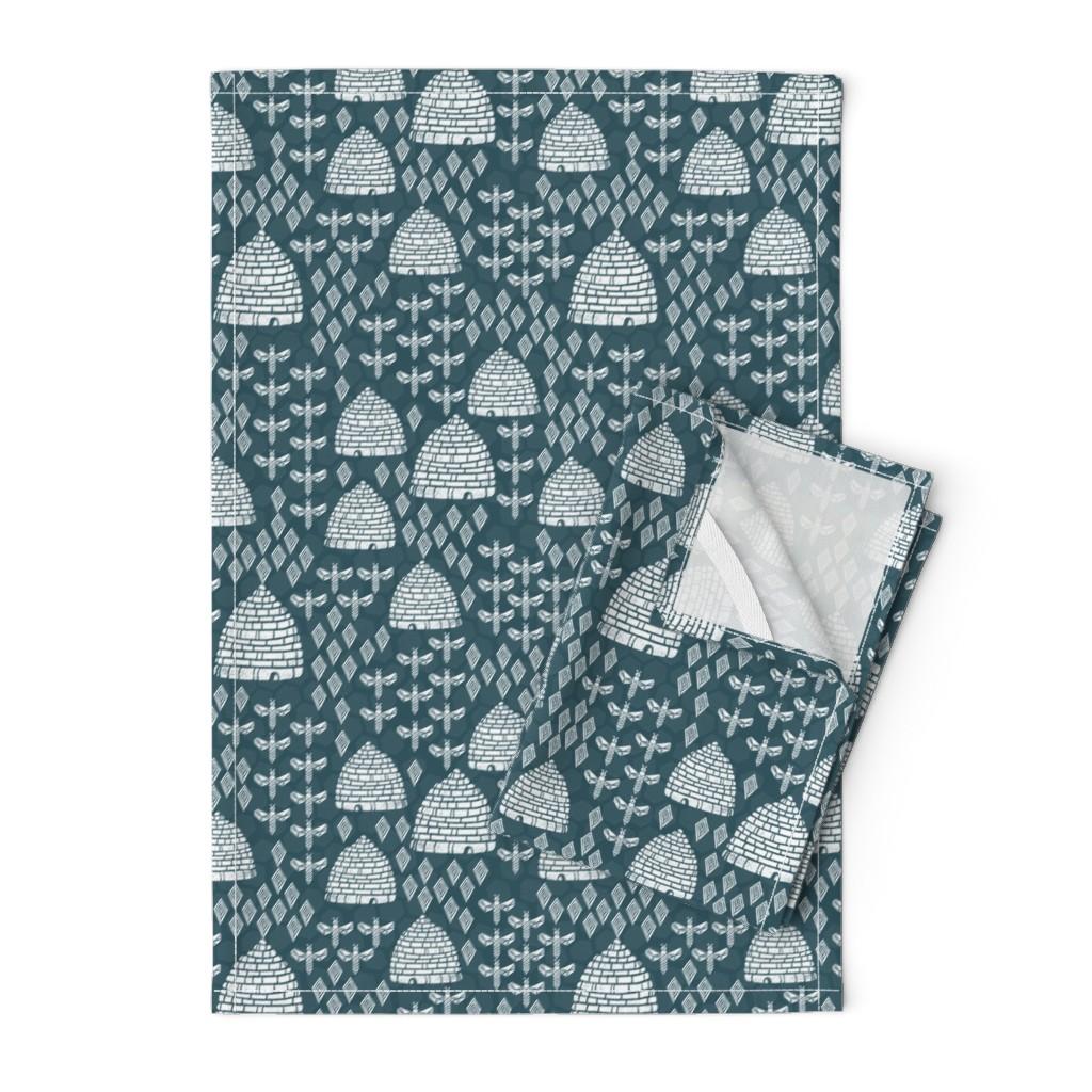 Orpington Tea Towels featuring bee hives - linocut printmaking vintage style andrea lauren fabric print by andrea_lauren