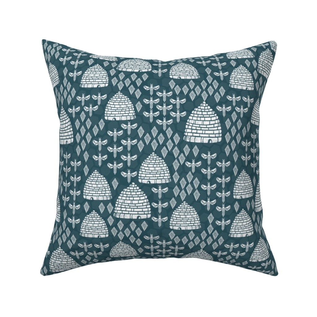 Catalan Throw Pillow featuring bee hives - linocut printmaking vintage style andrea lauren fabric print by andrea_lauren