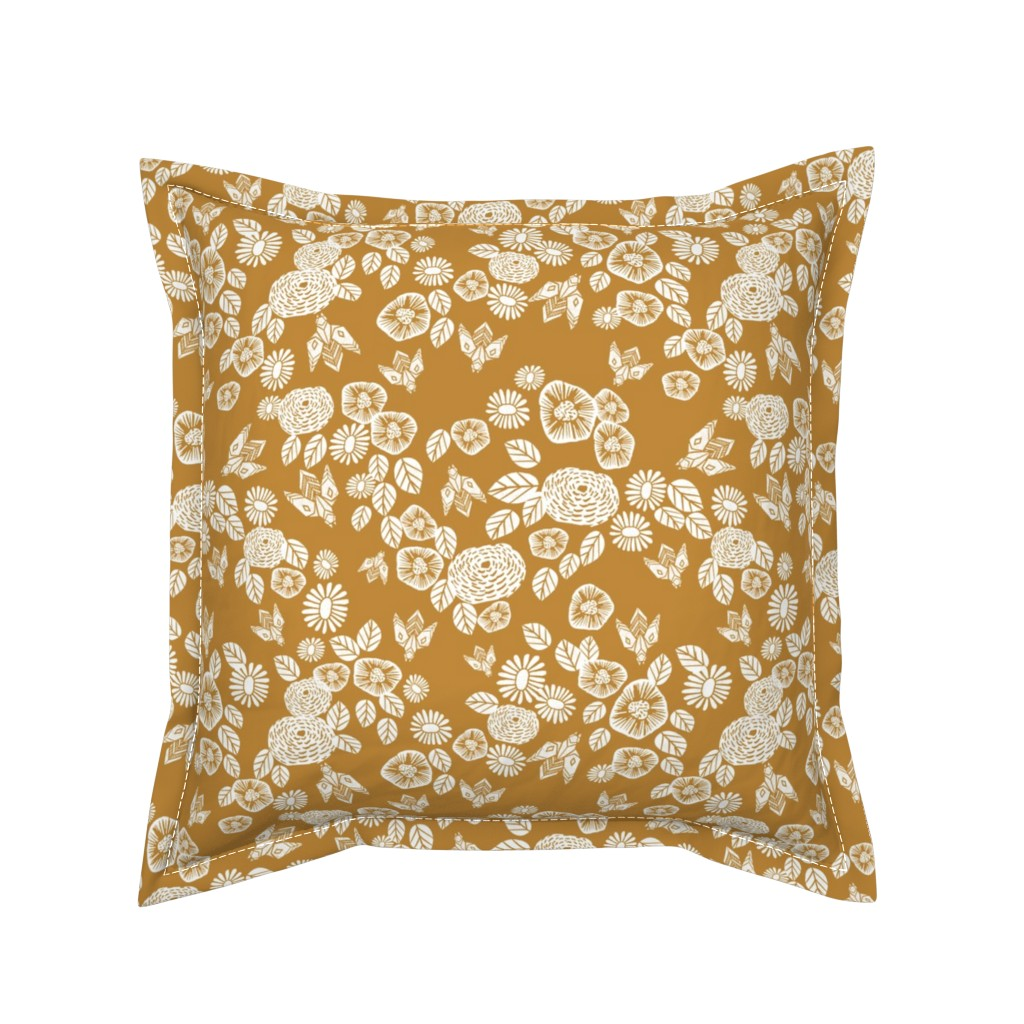 Serama Throw Pillow featuring bee garden - spring flowers florals mustard yellow vintage style flowers by andrea_lauren