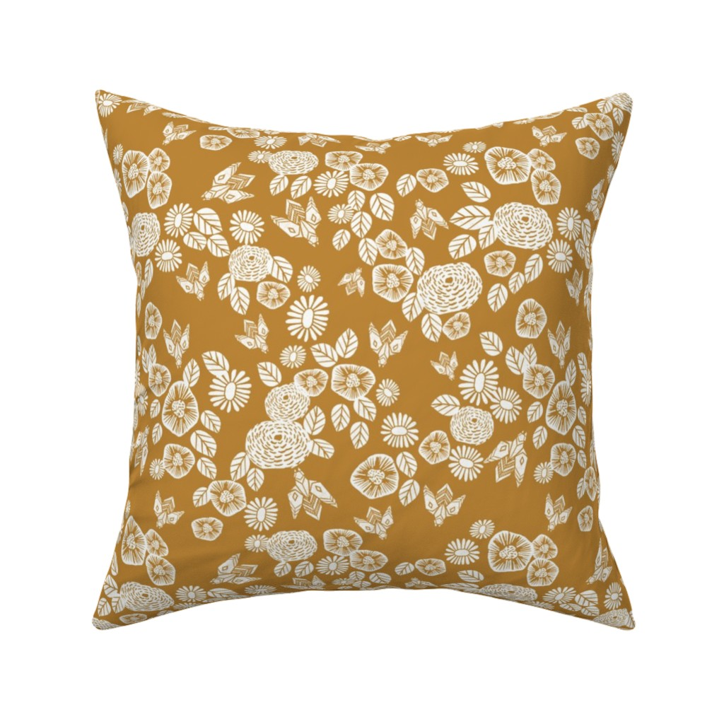 Catalan Throw Pillow featuring bee garden - spring flowers florals mustard yellow vintage style flowers by andrea_lauren