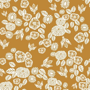 bee garden - spring flowers florals mustard yellow vintage style flowers