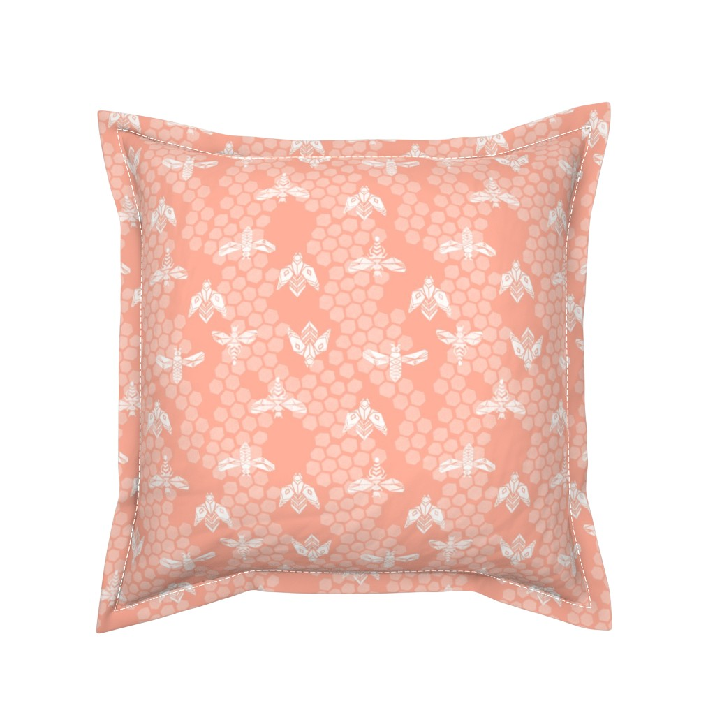 Serama Throw Pillow featuring bees honeycomb - peach light linocut spring print by andrea_lauren