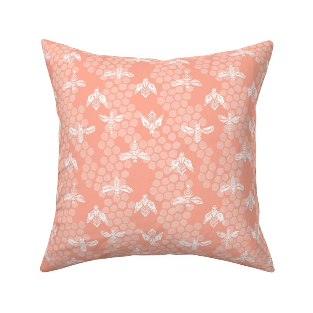 Catalan Throw Pillow featuring bees honeycomb - peach light linocut spring print by andrea_lauren