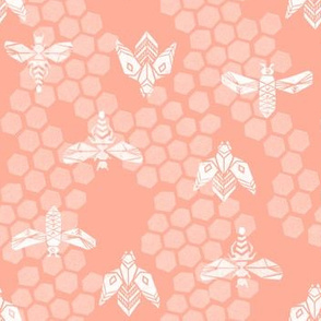bees honeycomb - peach light linocut spring print