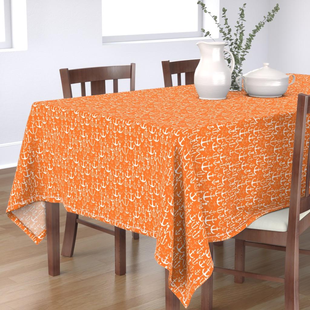 Bantam Rectangular Tablecloth featuring anchors // sailing nautical orange preppy ocean sea water summer bright by andrea_lauren