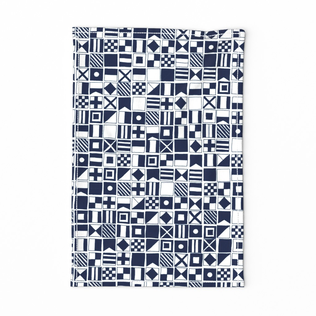Special Edition Spoonflower Tea Towel featuring sailing flags // navy blue sailboat nautical summer ocean by andrea_lauren