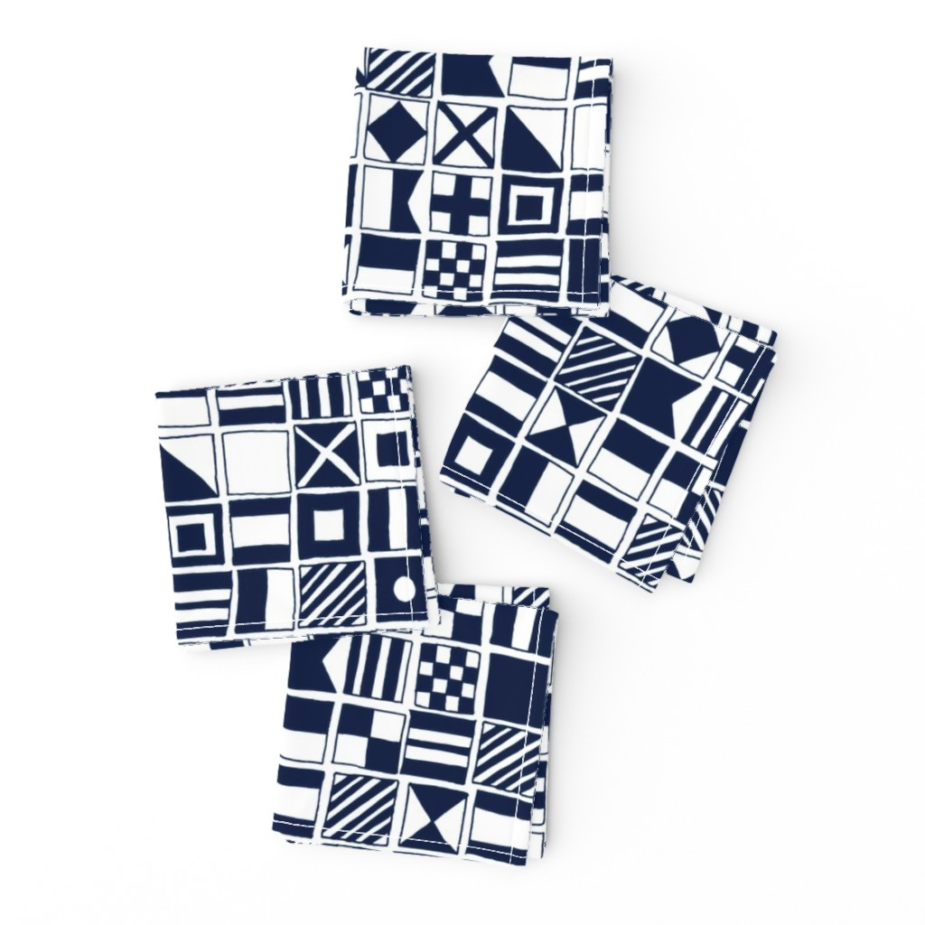 Frizzle Cocktail Napkins featuring sailing flags // navy blue sailboat nautical summer ocean by andrea_lauren
