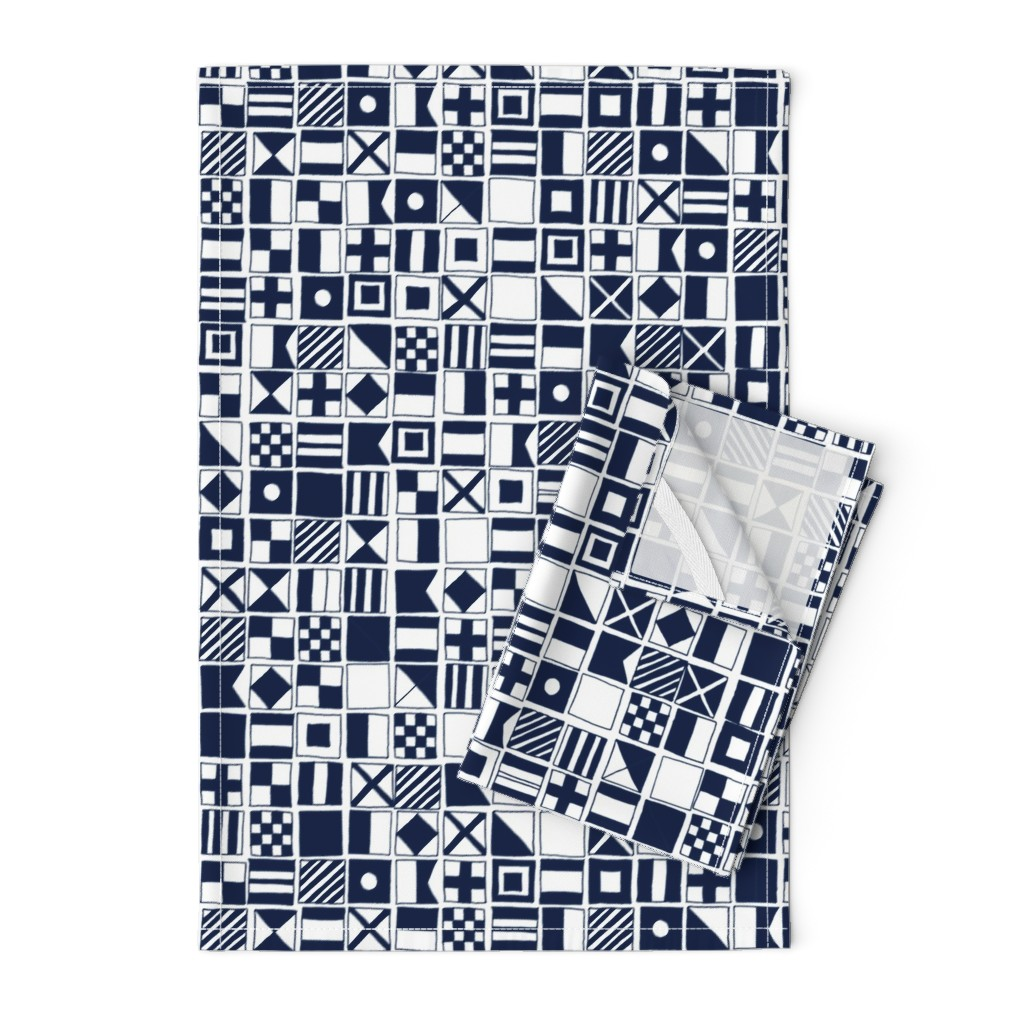 Orpington Tea Towels featuring sailing flags // navy blue sailboat nautical summer ocean by andrea_lauren