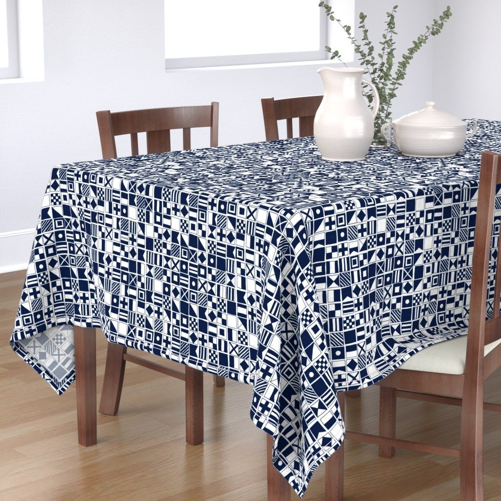 Bantam Rectangular Tablecloth featuring sailing flags // navy blue sailboat nautical summer ocean by andrea_lauren