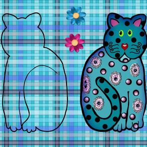 Blue Kitty Doll Cut-and-Sew Kit