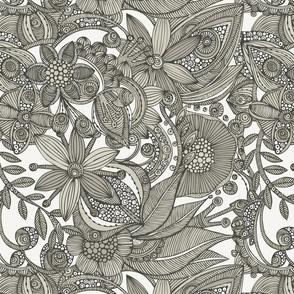 Flowers Doodles grey