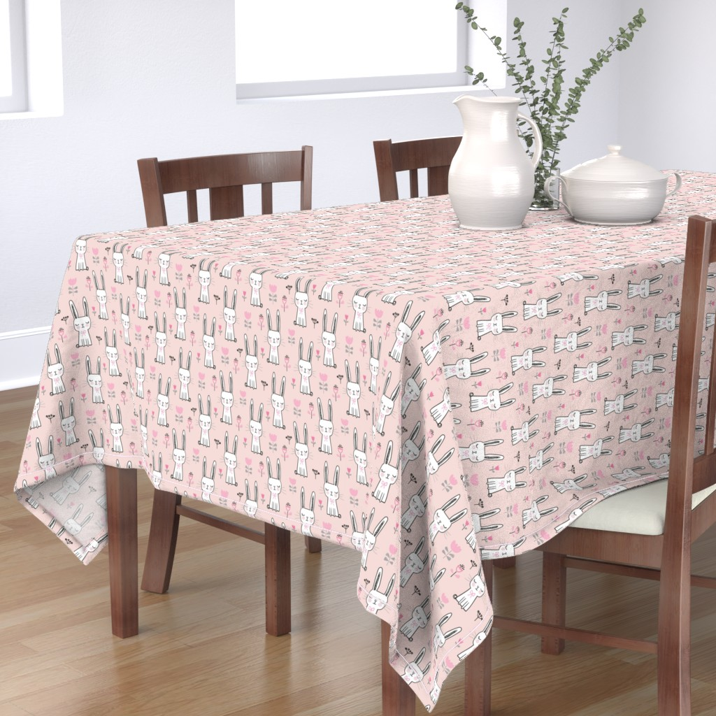 Bantam Rectangular Tablecloth featuring Dreamy Bunny Rabbit in Pink by caja_design
