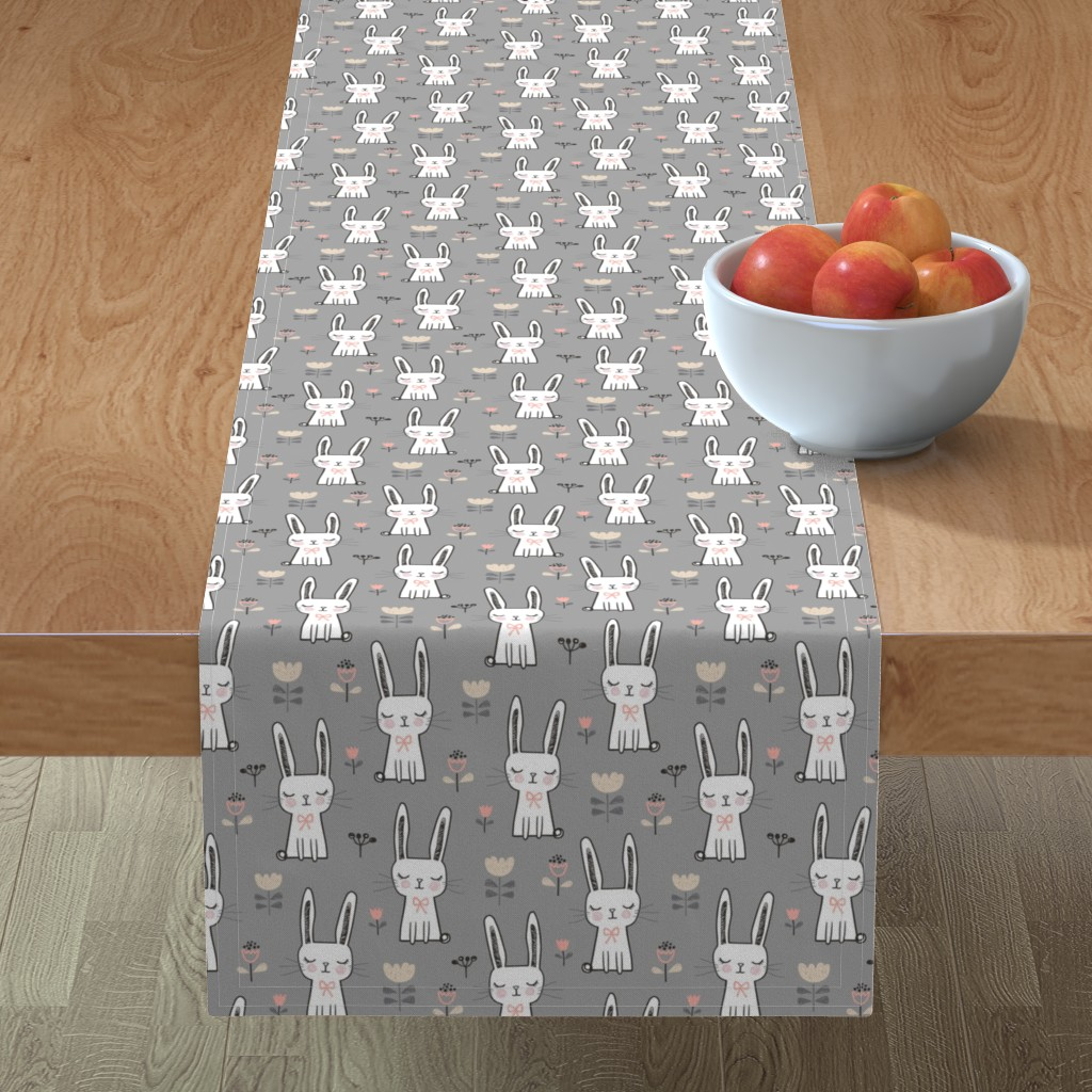 Minorca Table Runner featuring Dreamy Bunny Rabbit on Grey by caja_design