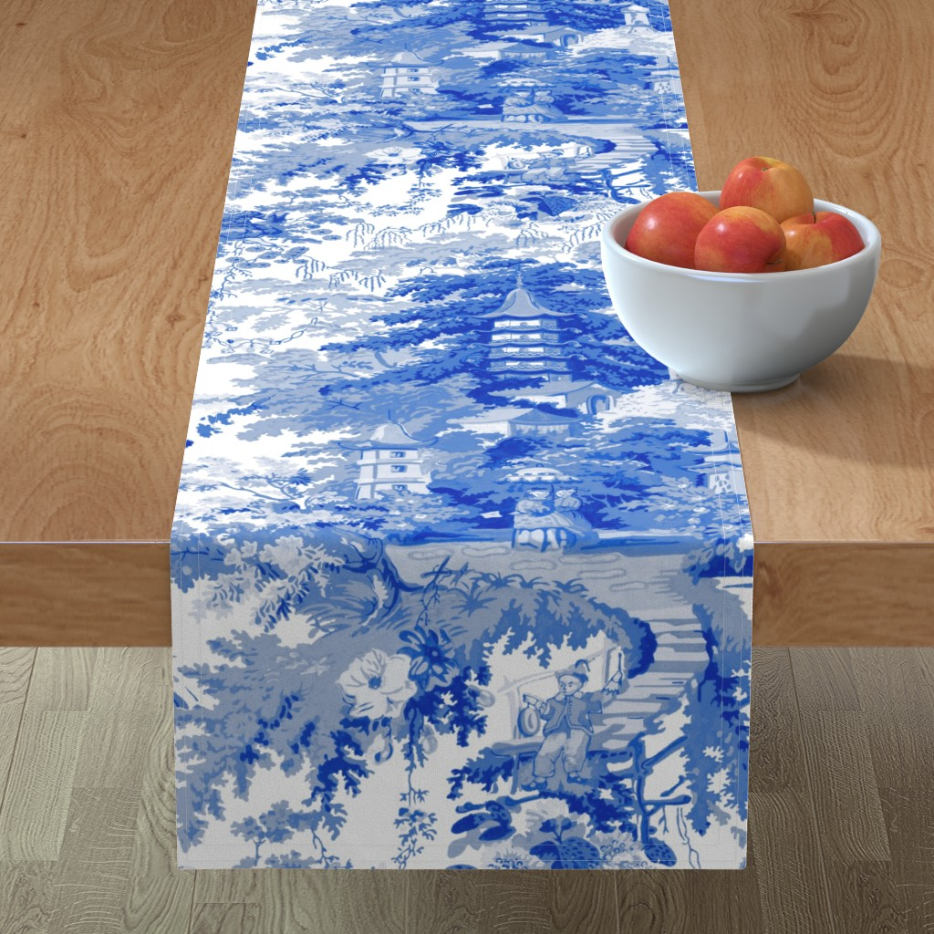Minorca Table Runner featuring Chinoiserie Palace ~ Willow Blue and White  by peacoquettedesigns