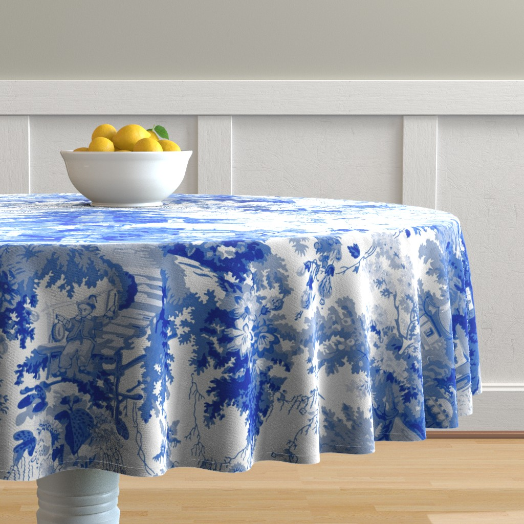 Malay Round Tablecloth featuring Chinoiserie Palace ~ Willow Blue and White  by peacoquettedesigns
