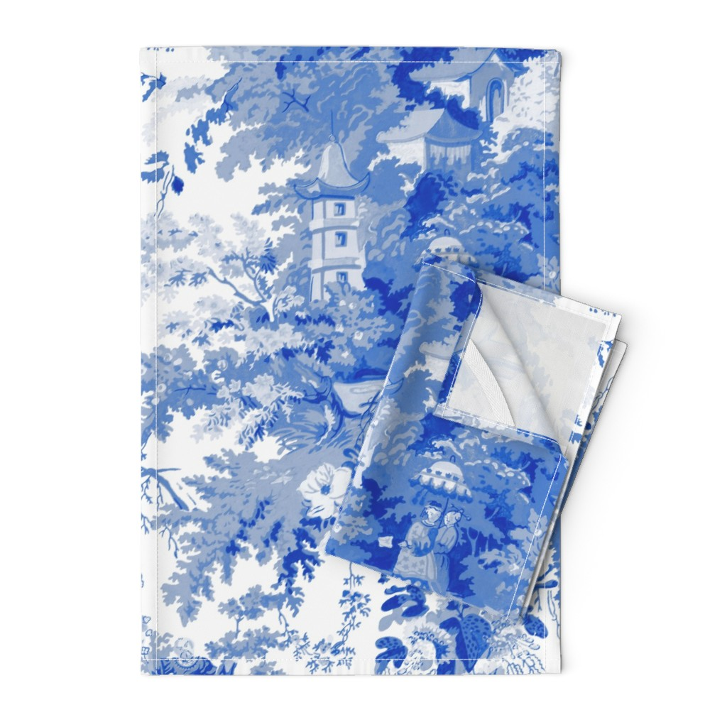 Orpington Tea Towels featuring Chinoiserie Palace ~ Willow Blue and White  by peacoquettedesigns