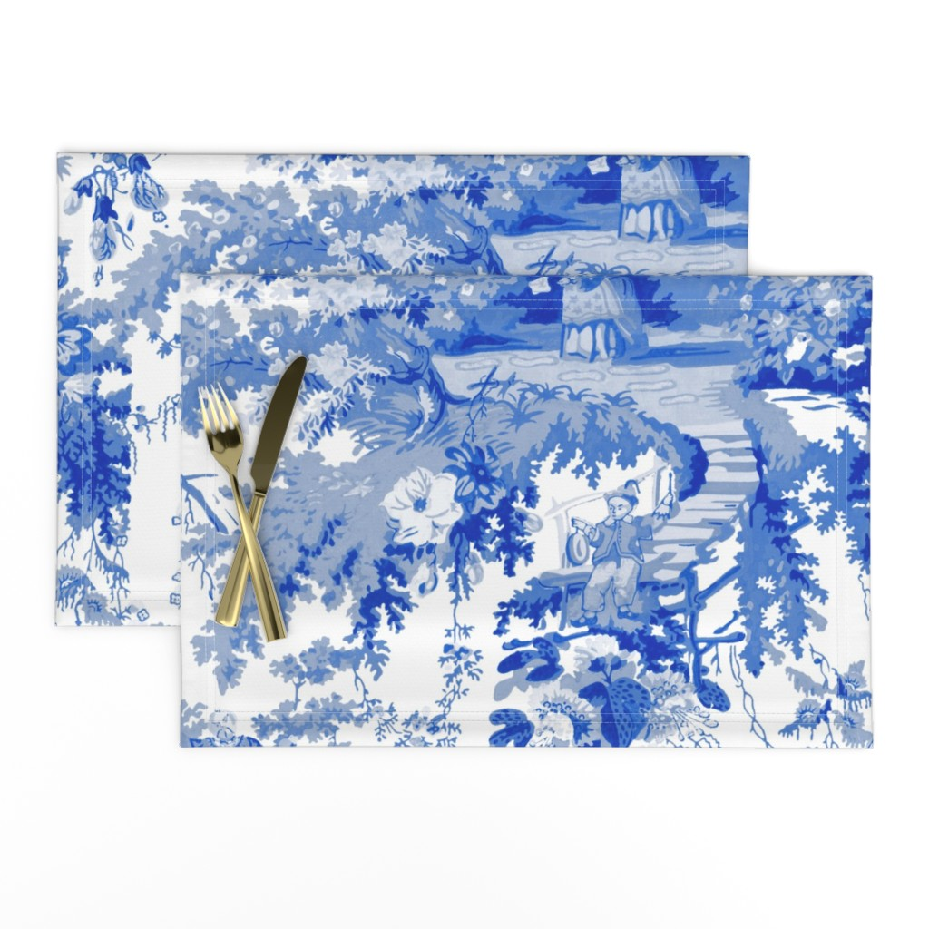 Lamona Cloth Placemats featuring Chinoiserie Palace ~ Willow Blue and White  by peacoquettedesigns