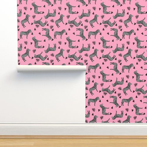 Wallpaper Zebra Pink Girls Sweet Black And White Zoo Animals Africa Triangles Tropical