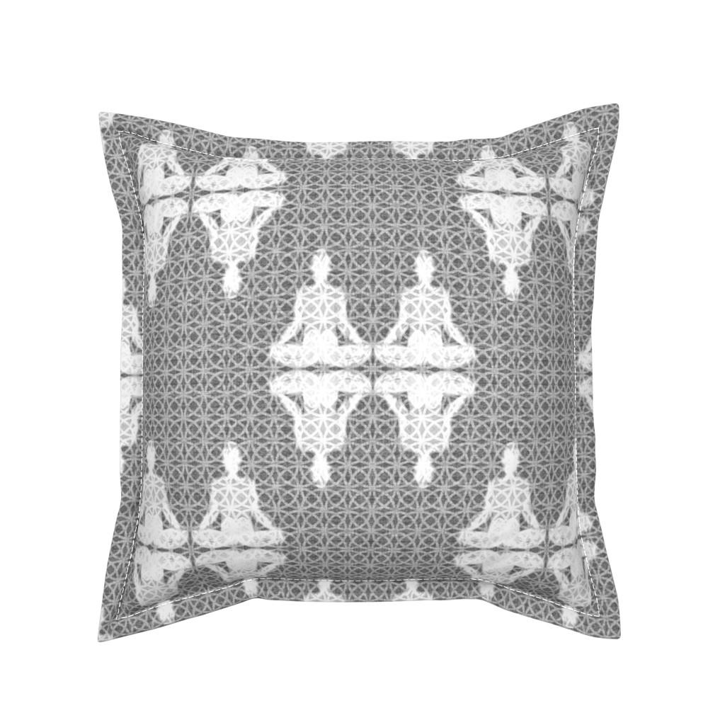 Serama Throw Pillow featuring Fuzzy Grey Yoginis ©️GargoyleSentry by gargoylesentry