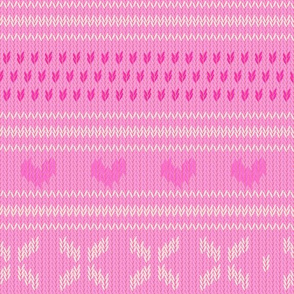 Pink Knit Sweater with Hearts