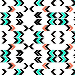arrows in mint, coral, and black