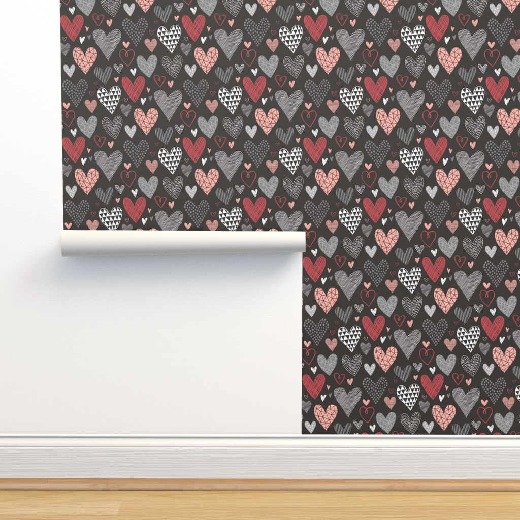 Isobar Durable Wallpaper featuring Hearts Geometric Love Valentine Red on Black by caja_design