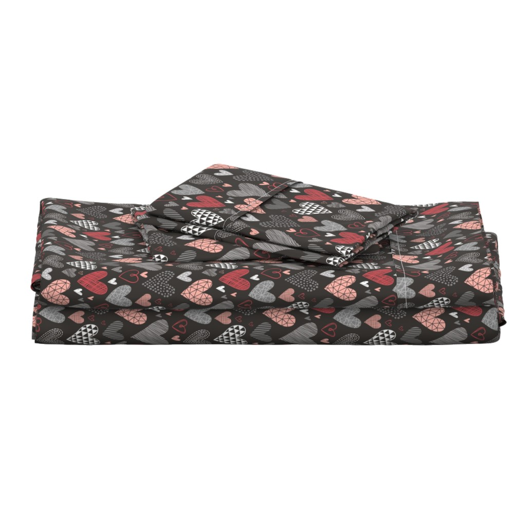 Langshan Full Bed Set featuring Hearts Geometric Love Valentine Red on Black by caja_design