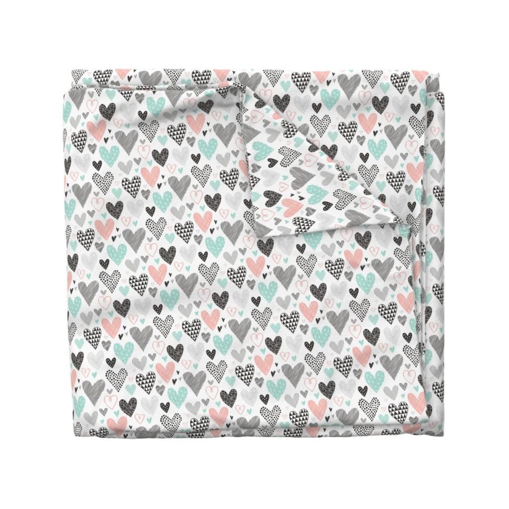 Wyandotte Duvet Cover featuring Hearts Geometrical Love Valentine Black&White Mint Peach by caja_design