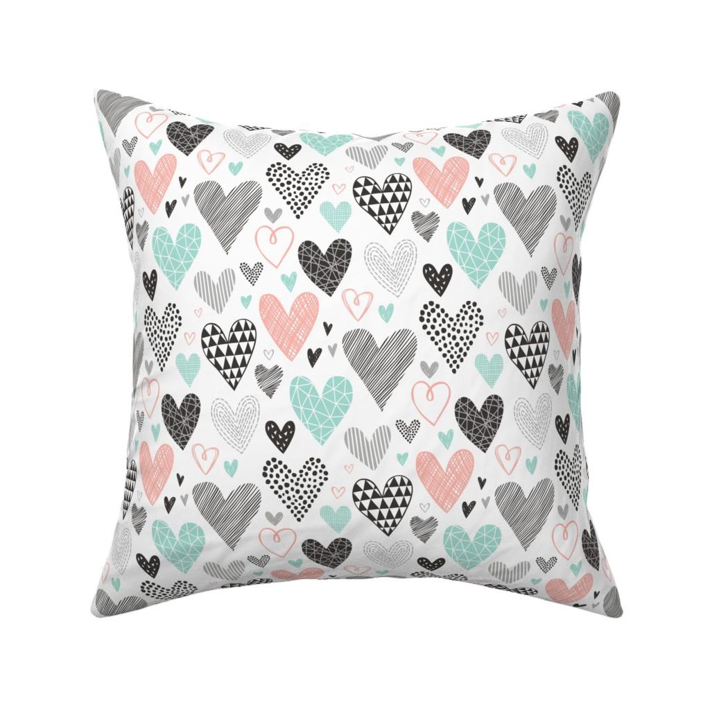 Catalan Throw Pillow featuring Hearts Geometrical Love Valentine Black&White Mint Peach by caja_design