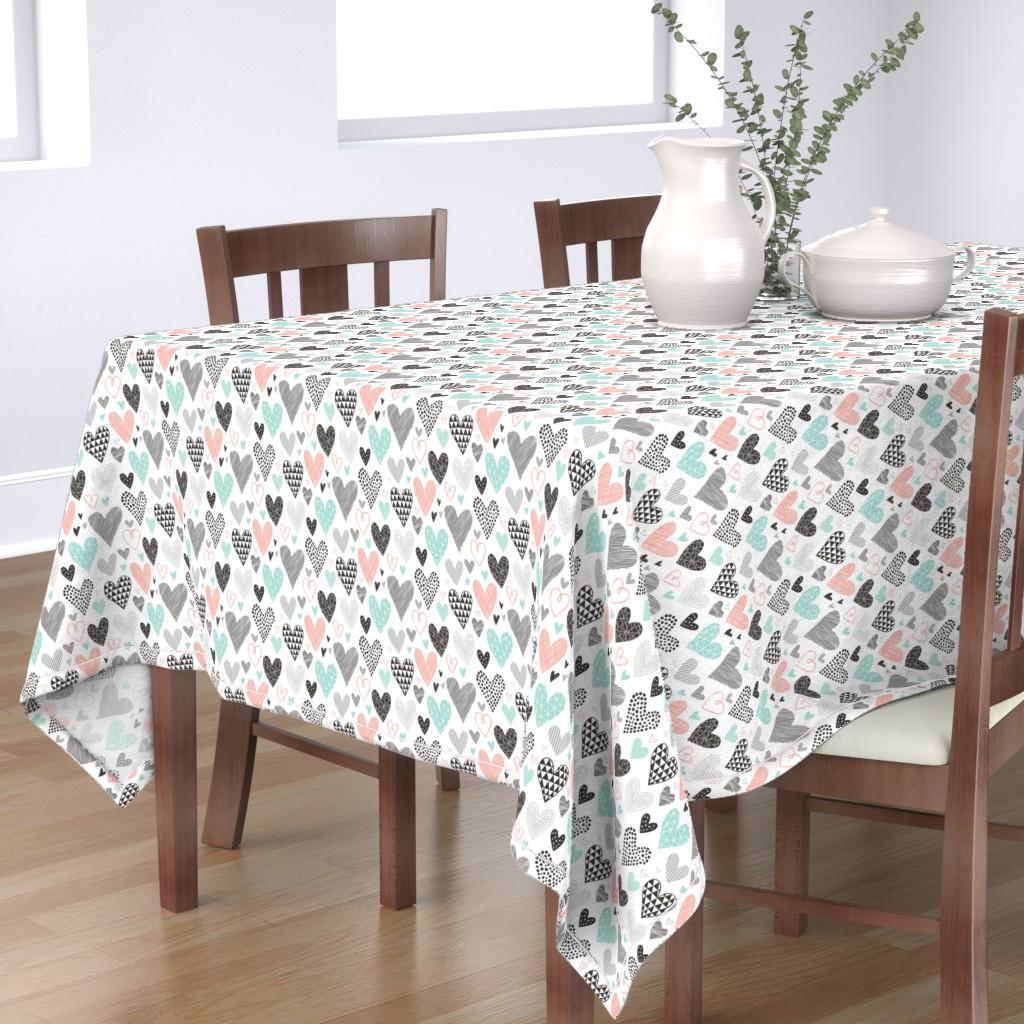Bantam Rectangular Tablecloth featuring Hearts Geometrical Love Valentine Black&White Mint Peach by caja_design