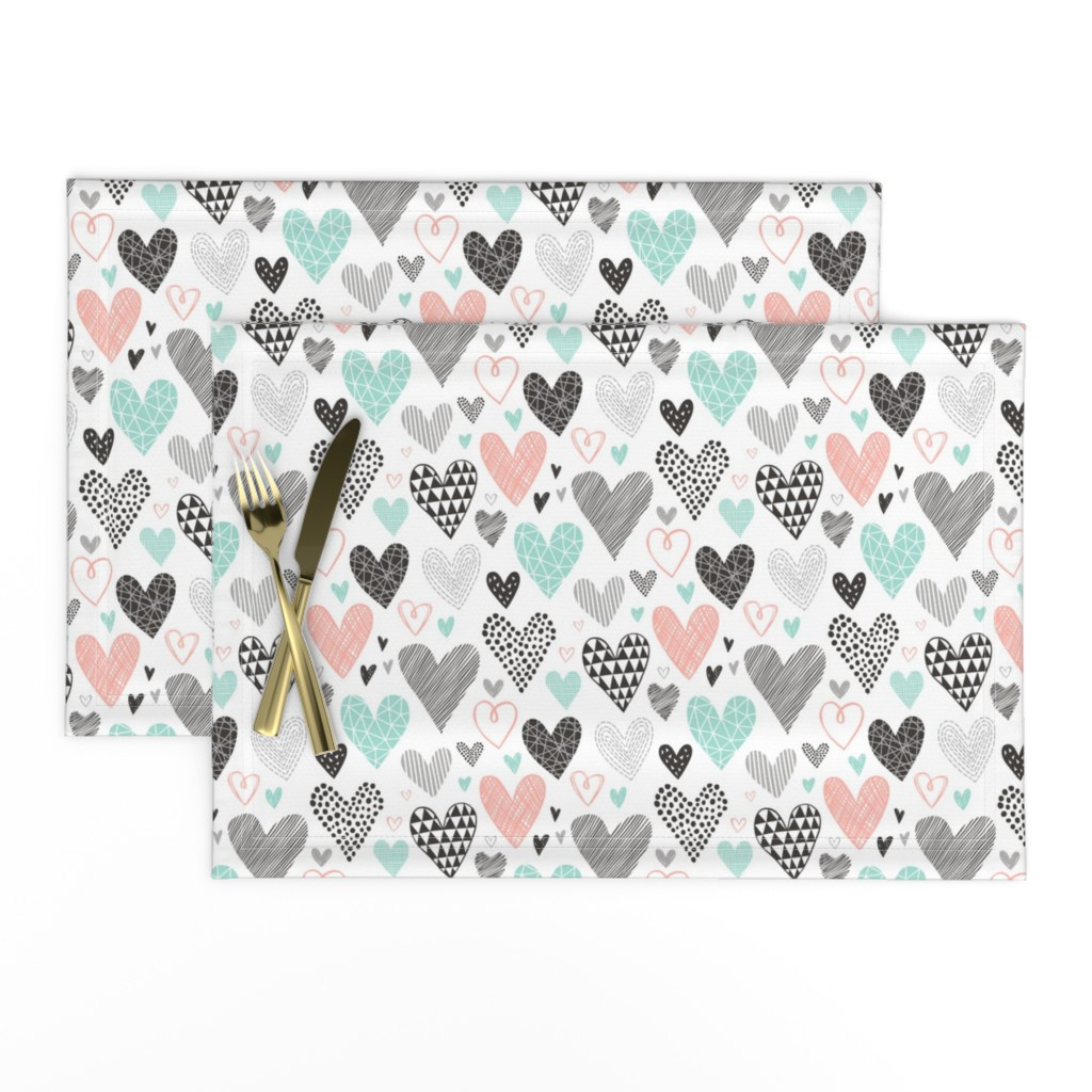 Lamona Cloth Placemats featuring Hearts Geometrical Love Valentine Black&White Mint Peach by caja_design