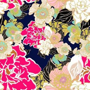 Jungle Passion Floral dark blue background