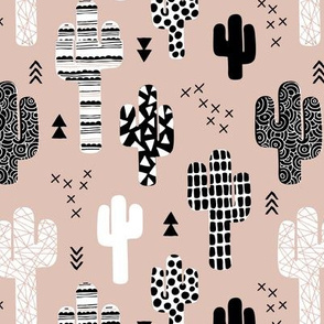 Cool western geometric cactus garden with triangles and arrows gender neutral beige black and white