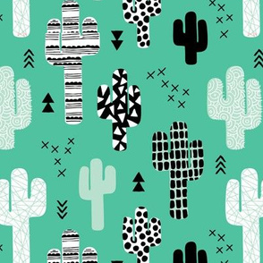 Trendy western geometric cactus garden with triangles and arrows gender neutral mint black and white