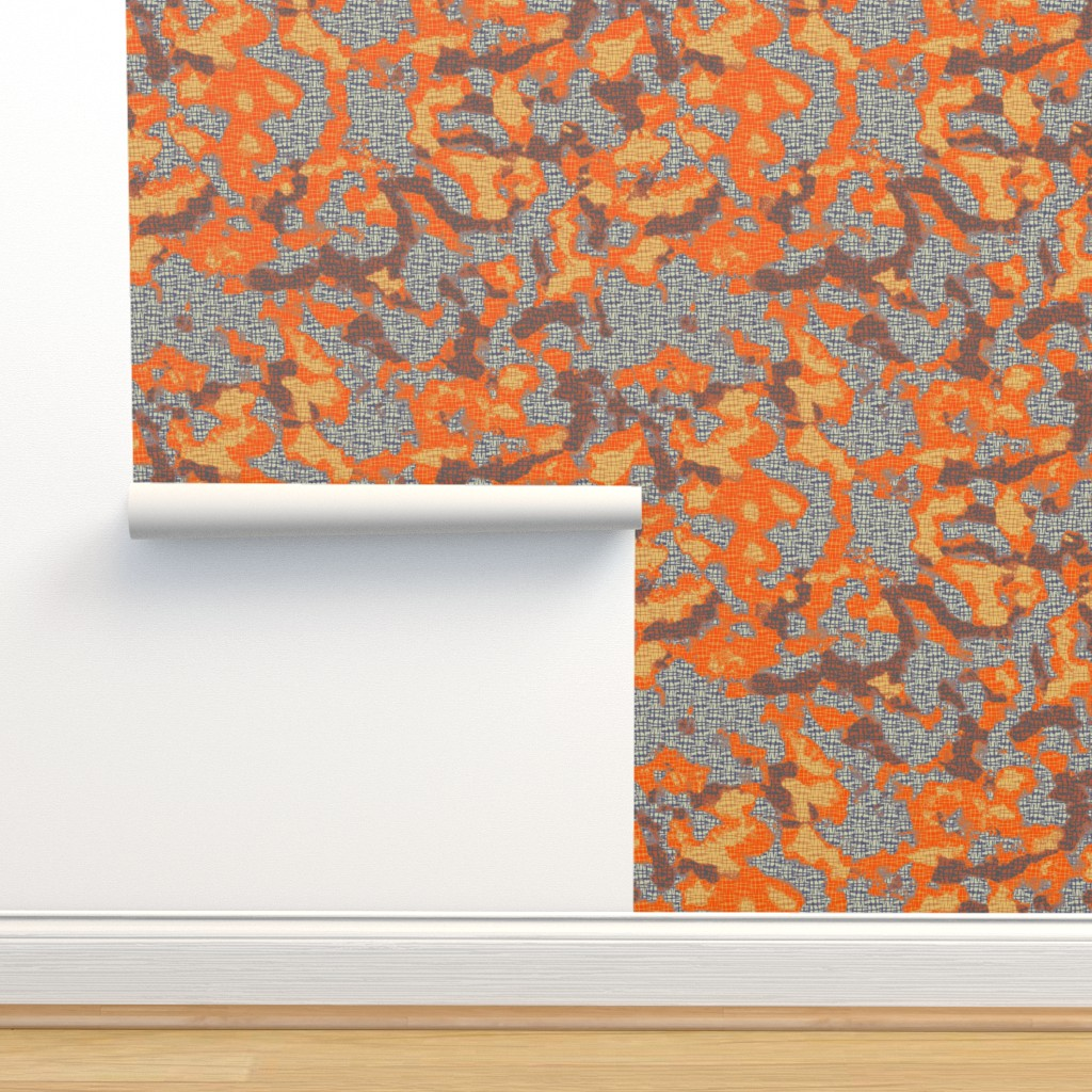 Isobar Durable Wallpaper featuring Orange voodoo camo by susiprint