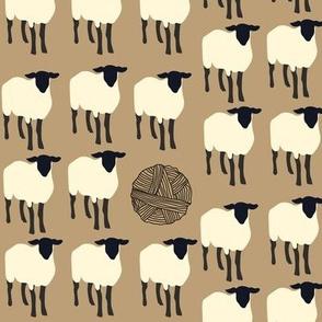 16-09g Sheep Knitting Ball Yarn Barn Farm Black Cream Tan_Miss Chiff Designs