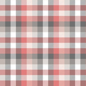 Madras plaid - coral and grey