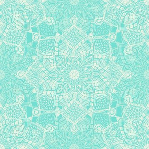 Cream Doodle Medallions on Pale Blue Green