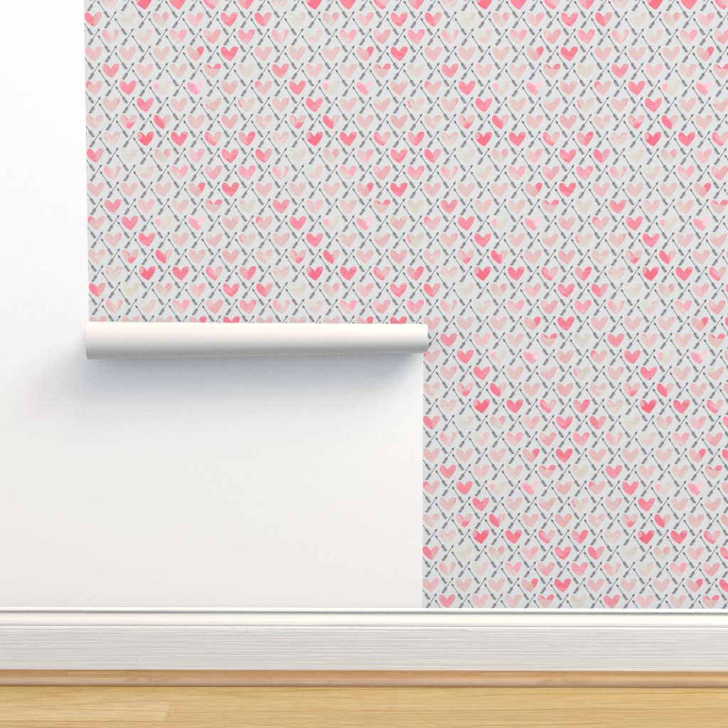 Isobar Durable Wallpaper featuring Pink Watercolor Hearts + Cupid's Arrow - Small Scale by papercanoefabricshop