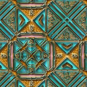 Aqua and Tan Tile Shimmer